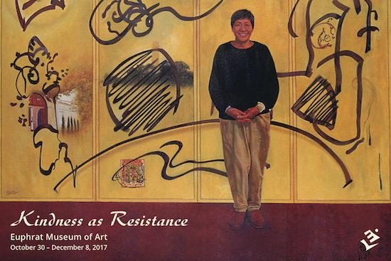 Painitng of artist Lenore Chinn standing in front of large artwork