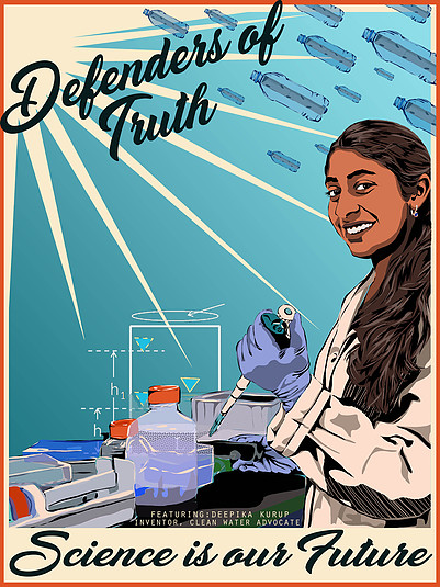 Woman in lab coat workign with scientific equipment, 'Defenders of Truth','Science is our Future'