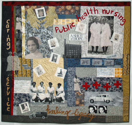 Quilt with images of caregivers