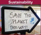 Save the Planet sign in Kirsch Center
