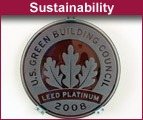 LEED Platinum seal of approval inside the Kirsch Center